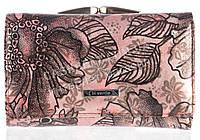 Компактный оригинальный лаковый женский кожаный кошелек высокого качества H.VERDE art. 2103-D54 розовый