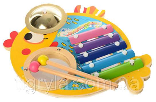 """Деревянная игрушка музыкальный центр Ксилофон барабанная установка """"Рыбка"""""""