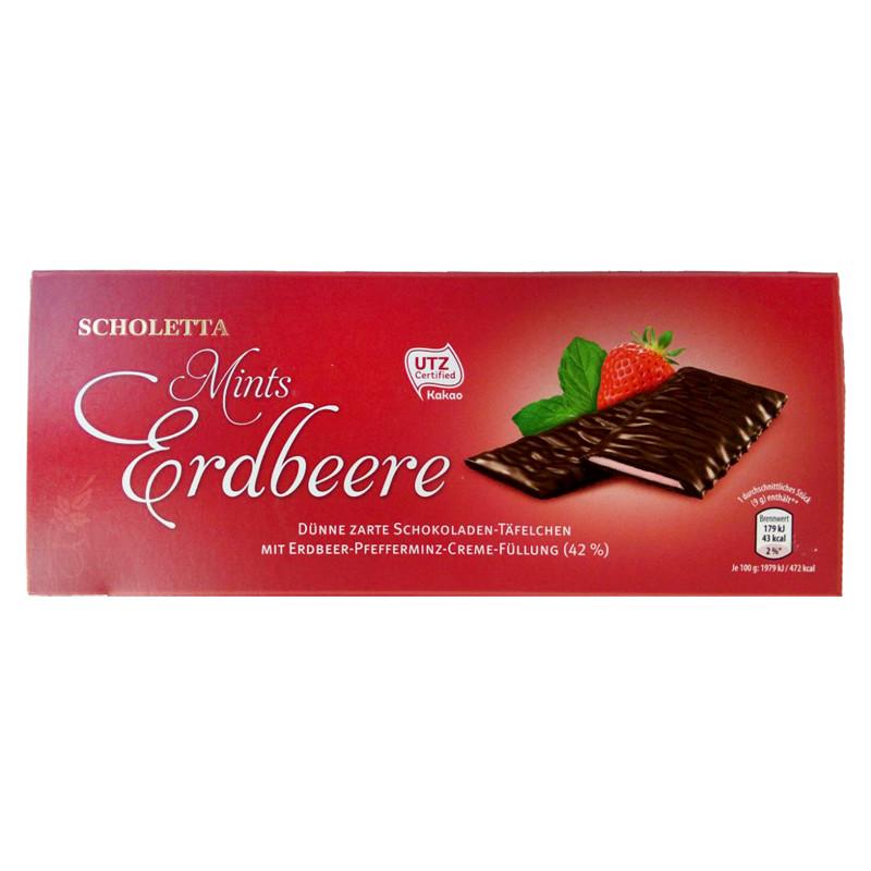 Шоколад с ментолом и клубникой Scholetta Mints Erdbeere 300 г.  Германия