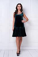 Женское стильное бархатное платье-рюша (3 цвета)
