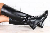 Сапоги зимние кожаные на низком ходу черные без замка