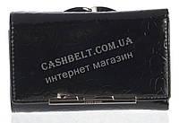 Компактный оригинальный лаковый женский кожаный кошелек высокого качества LE PELICAN art. 8356 черный
