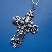 Серебряный крест с распятием и фианитами,  8 грамм