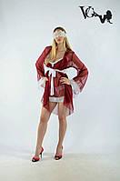 Короткий бордовый халат