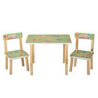 Деревянный столик со стульчиками 501-6 салатовые птички
