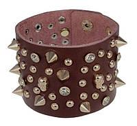 Кожаный браслет с шипами и черепами БС-1949