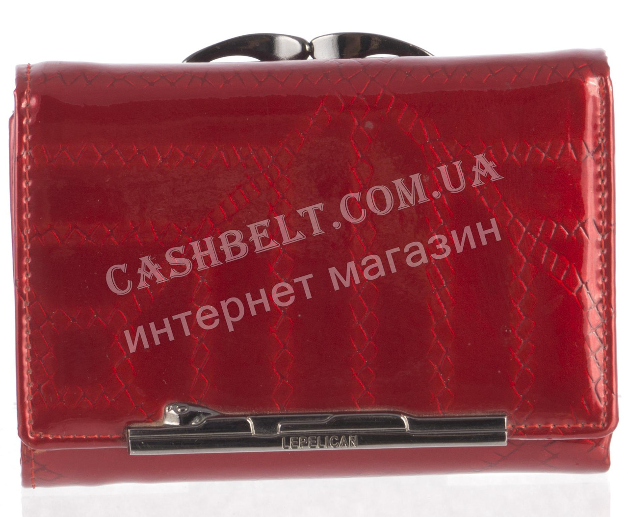 Маленький оригинальный лаковый женский кожаный кошелек высокого качества LE PELICAN art. 8357 C007 красный