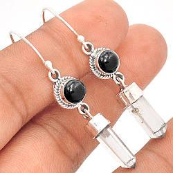 Херкаймерийский алмаз и черный оникс, серебро  925, серьги, 104СО