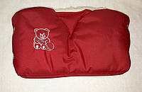 """Муфта на коляску или санки """" Мишка """" на овчине. Красная"""