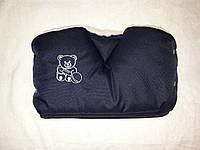 """Муфта на коляску или санки """" Мишка """" на овчине. Синяя"""