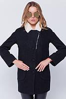 """Утепленное пальто с мехом """"Грейс"""" черное"""