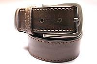 Ремень кожаный 'UniversalBrown' 40 мм коричневый прошитый одной строчкой