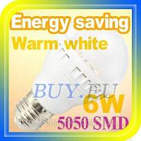 Светодиодная лампочка E27 цоколь 6W лед лампа LED цвет теплый белый, фото 1