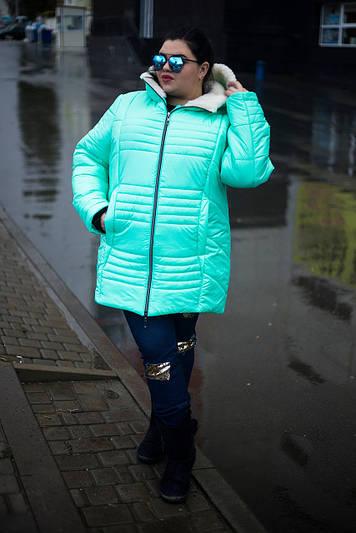 Зимняя куртка больших размеров София мята 48-74