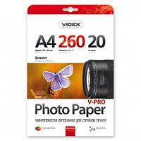 Фотобумага Videx PHWA4 260/20 микропористая винил 20 листов