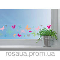 Лента самоклеющаяся, для стеклянных поверхностей, ''Бабочки'', Прозрачная, 7,6 смx2м, Heyda