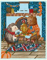 Схема для вышивки бисером Ёжик и медвежонок, размер 16х20 см