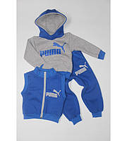 Детский  Теплый Спортивный Костюм  Puma Тройка Цвет Синий  Рост 80-110 см