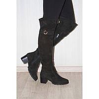 Шикарные женские ботфорты из натурального замша на каблуке, возможен отшив в других цветах кожи и замша, фото 1