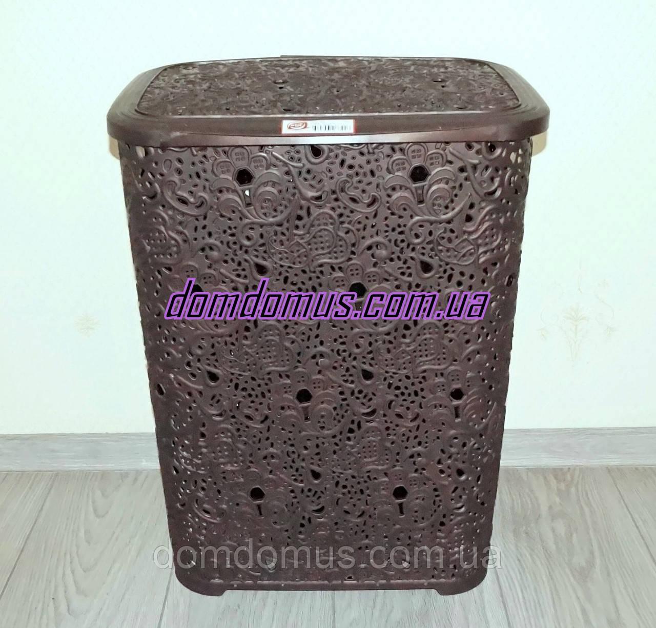 """Корзина для белья """"Ажур"""" 67 л Elif Plastik, Турция, коричневая"""