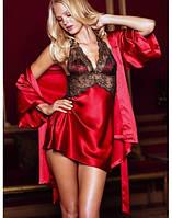 Комплект женский с халатиком красный 3450