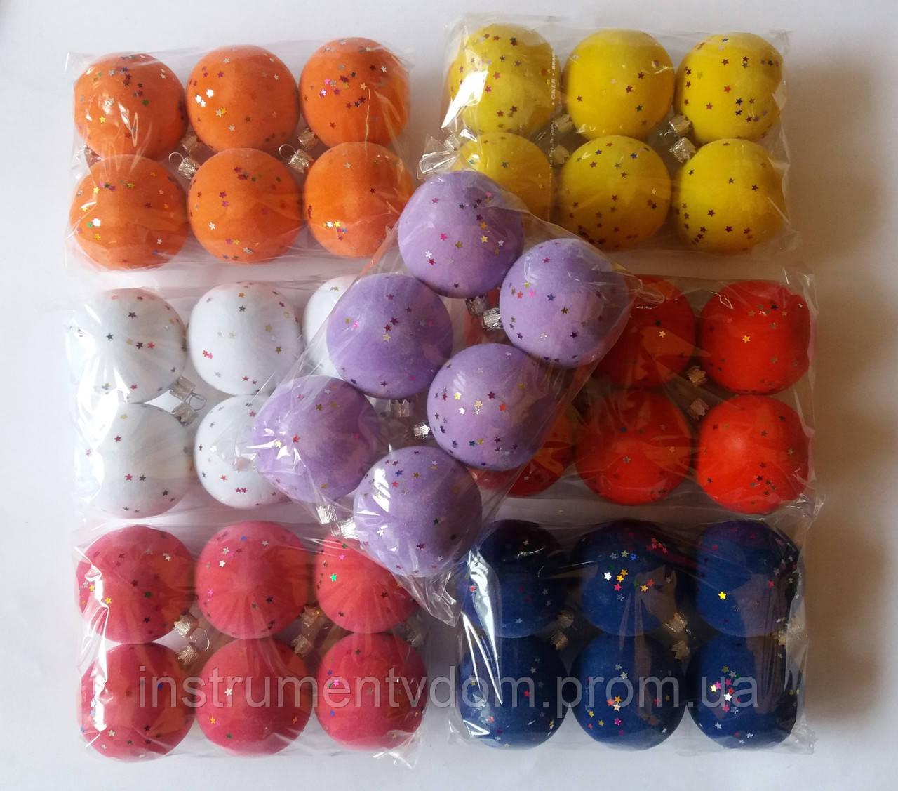 """Елочная игрушка """"Шар с блестками Бархат"""" (диаметр 6 см, упаковка 6 шт, цвета в ассортименте)"""