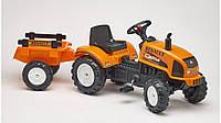 Трактор на педалях с прицепом RENAULT Falk оранжевый