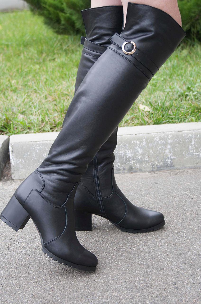 Женские сапоги на невысоком каблуке, натуральная кожа