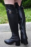 Женские сапоги на невысоком каблуке, натуральная кожа, фото 2