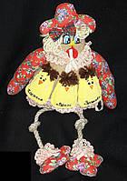 Красная курица с цыплятами ручной работы, 35х20 см., яйцо-7 см.,250/210 (цена за 1 шт. + 40 гр.)