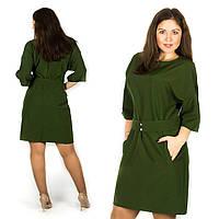 Зелёное платье 15582, большого размера