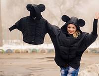Курточка детская стеганая черная с ушками 8334