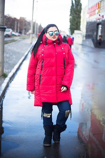 Зимняя куртка больших размеров Мьюзик красная