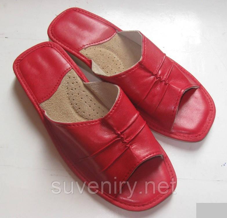 Женские кожаные тапочки мягкие