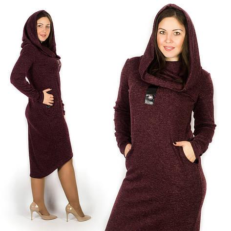 Бордовое платье 15589Б, большого размера, фото 2