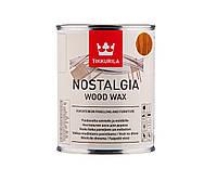 Масло-воск интерьерное TIKKURILA NOSTALGIA WOOD WAX для стен и мебели цвета изюм, 1л
