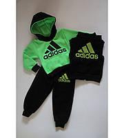 Детский  Спортивный Костюм  Очень Теплый Adidas Тройка Цвет Салатовый Рост 80-110 см