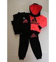 Детский Тёплый Спортивный Костюм Тройка в стиле Adidas Малиновый Рост 80-110 см