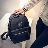 Рюкзак женский кожаный с горизонтальной молнией (черный), фото 2