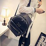 Рюкзак женский кожаный с горизонтальной молнией (черный), фото 3