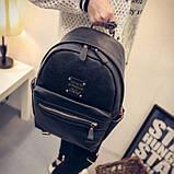 Рюкзак женский кожаный с горизонтальной молнией (черный), фото 4