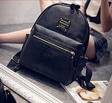 Рюкзак женский кожаный с горизонтальной молнией (черный), фото 5
