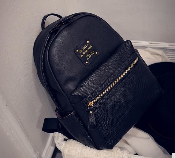 Рюкзак женский кожаный с горизонтальной молнией (черный)