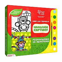 Набір розмальовка за номерами «Мавпенятко Лу» полотно 25*25см