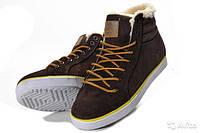 Мужские зимние кроссовки Adidas Ransom Fur коричневые замша мех