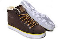 Мужские зимние ботинки Adidas Ransom Fur коричневые замша мех