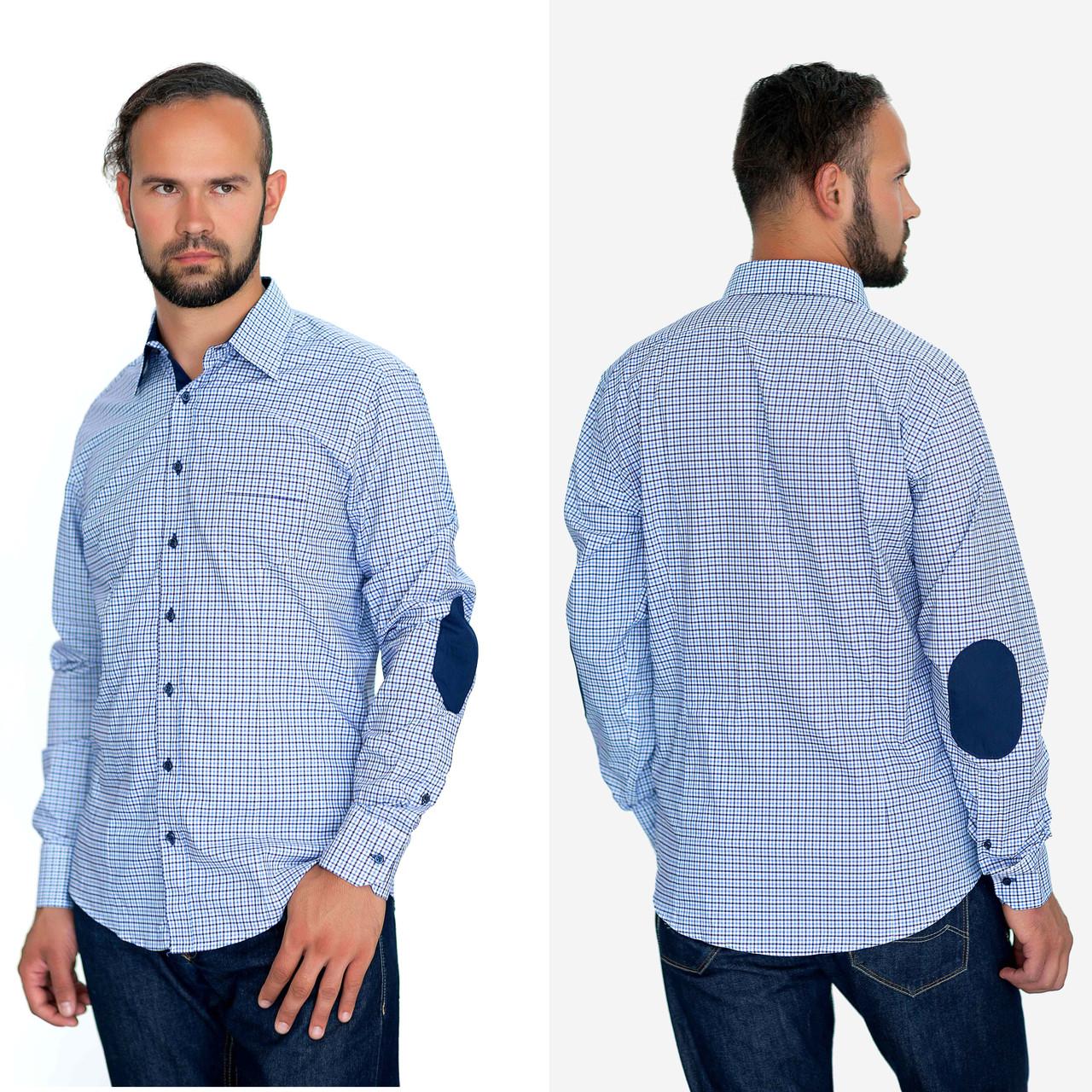 6f2034f3132 Рубашка мужская в мелкую синюю клетку.Длинный рукав