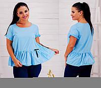 Блуза летняя женская батал с рюшами