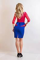Женское стильное и необычное платье с баской  имитирует комплект из гипюровой  блузки и юбки