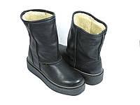 Кожаные ботинки зимние черные на меху